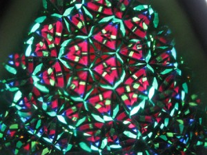 multi-colored view of inside of stained glass kaleidoscope