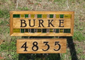 Wood and Stained Glass address sign